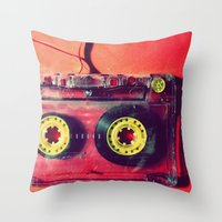 cassette Throw Pillows featuring Cassette by The 80s