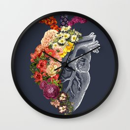 Flower Heart Spring Blue Grey Wall Clock