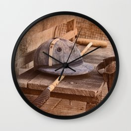Old style polo equipment after the game Wall Clock
