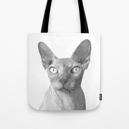 Black and White Sphynx Cat Tote Bag