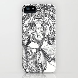 Genish black and white line drawing iPhone Case
