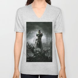 Dishonored video games sky dark clouds video game art Unisex V-Neck
