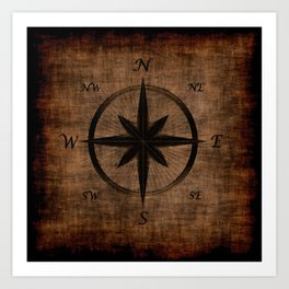 Nostalgic Old Compass Rose Art Print
