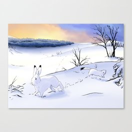 The stoat and the Hare Canvas Print