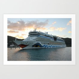 AIDAluna Cruise Ship in Road Town on Tortola Art Print