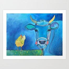 Blue Cow Yellow Hen Art Print
