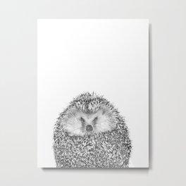 Black and White Hedgehog Metal Print