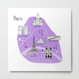 Paris Map - Purple Metal Print