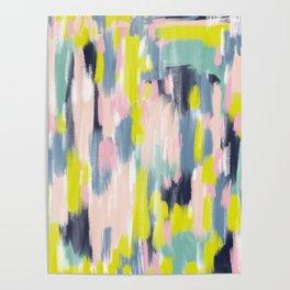 Abstract Brush Stroke Art in Modern Color Palette Poster
