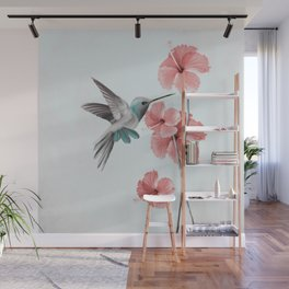 Hummingbird with Hibiscus Wall Mural