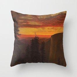 'Dramatic Sunset, Yosemite' landscape painting by Gilbert Munger Throw Pillow