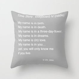 Time Story:  Storyboard IV (riddle) Throw Pillow