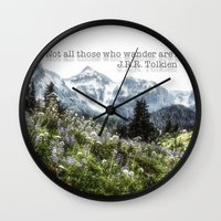 tolkien Wall Clocks featuring Alpine Wildflowers Tolkien Quote  by Elliott's Location Photography
