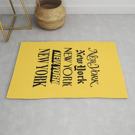 New York City Yellow Taxi and Black Typography Poster NYC Rug