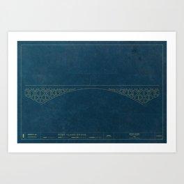 Ross Island Bridge — Blueprint Art Print