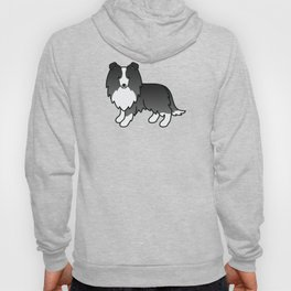 Bi-Black Shetland Sheepdog Dog Cartoon Illustration Hoody
