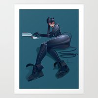 catwoman Art Prints featuring CATWOMAN by orlando arocena ~ olo409- Mexifunk