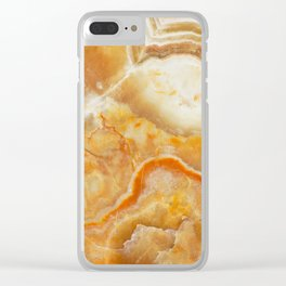 Brown Marble Stone Print Clear iPhone Case