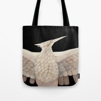 mockingjay Tote Bags featuring The Mockingjay. by Lithh