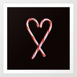 Candy Cane Heart Print Art Print