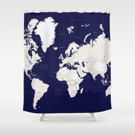 "Navy blue and cream world map, ""Austin"" Shower Curtain"