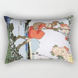 Arrietty landing - a japanese woodblock mashup Rectangular Pillow