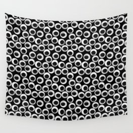 Googly eye pattern – black Wall Tapestry