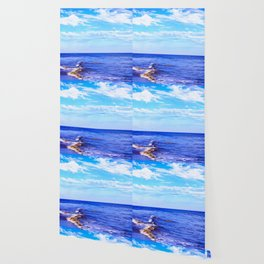 blue ocean view with blue cloudy sky in summer Wallpaper