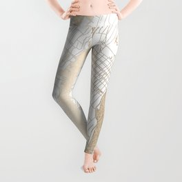 New York City White on Gold Leggings