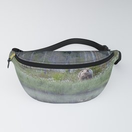 Wild brown bear and its reflection in forest creek Fanny Pack