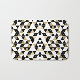 Modern Black, White, and Faux Gold Triangles Bath Mat