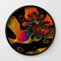trippy Wall Clocks featuring Trippy by Amanda Moore