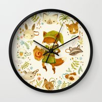 fox Wall Clocks featuring The Legend of Zelda: Mammal's Mask by Teagan White