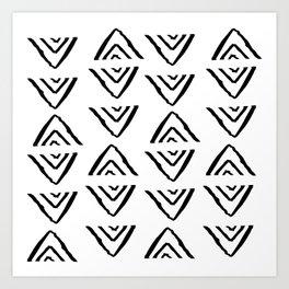 mudcloth 16 minimal textured black and white pattern home decor minimalist beach Art Print