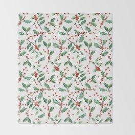 Festive Holly Pattern Throw Blanket