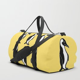 Penguins Pattern Yellow Duffle Bag