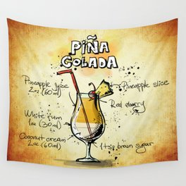 Piña Colada Recipe Illustration Wall Tapestry