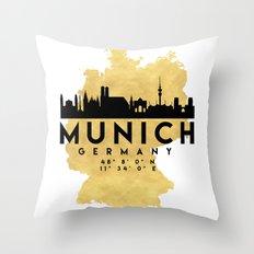 MUNICH GERMANY SILHOUETTE SKYLINE MAP ART Throw Pillow