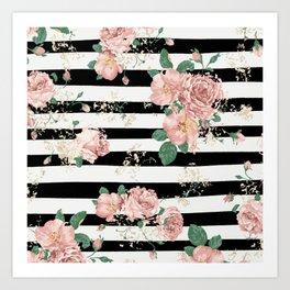 VINTAGE FLORAL ROSES BLACK AND WHITE STRIPES Art Print