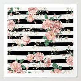 VINTAGE FLORAL ROSES BLACK AND WHITE STRIPES Art Print