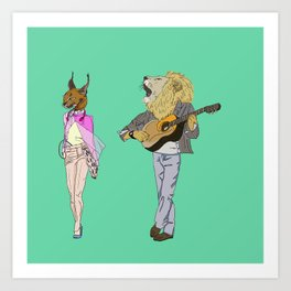 The Lion and the Caracal Art Print