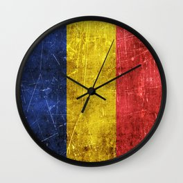 Vintage Aged and Scratched Romanian Flag Wall Clock