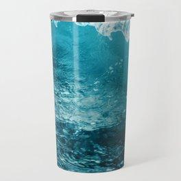 Breaking Wave of Blue Ocean Summer Background Travel Mug