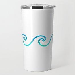 Wave Simple & Minimal Creative Pattern Of Sea Waves Travel Mug