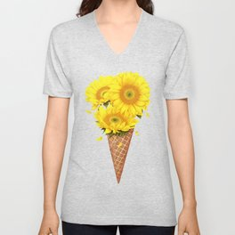 Ice cream with sunflowers Unisex V-Neck