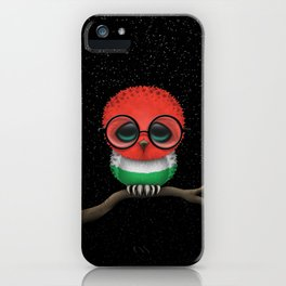 Baby Owl with Glasses and Hungarian Flag iPhone Case