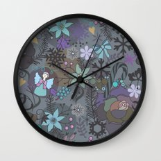 Colorful grey xmas pattern Wall Clock