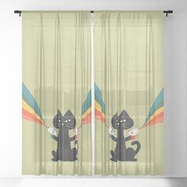 Ray gun cat Sheer Curtain