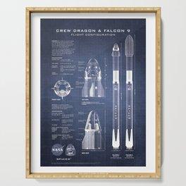 NASA SpaceX Crew Dragon Spacecraft & Falcon 9 Rocket Blueprint in High Resolution (dark blue) Serving Tray