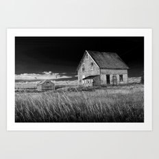 Abandoned buildings along the coast on Prince Edward Island in Black and White Art Print